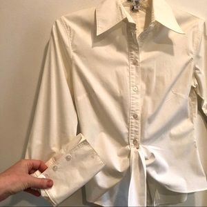 White cropped tie front button down